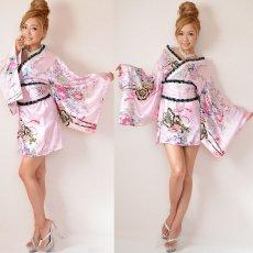画像5: レースリボンサテン和柄ミニ花魁着物ドレス コスチューム コスプレ キャバドレス (5)