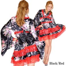 画像10: レースフリルリボン付きサテン花魁着物ドレス キャバドレス (10)