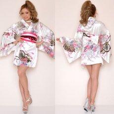 画像6: サテン和柄豪華花魁ミニ着物ドレス コスチューム キャバドレス (6)