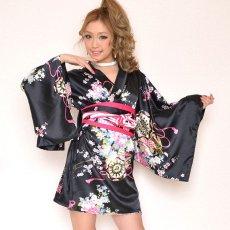 画像3: サテン和柄豪華花魁ミニ着物ドレス コスチューム キャバドレス (3)