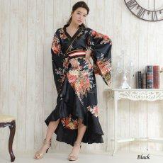 画像2: 帯付き花魁着物ロングドレス (2)
