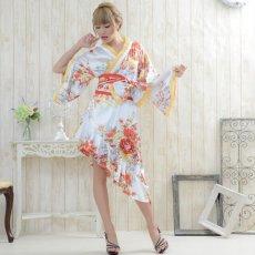 画像5: 帯付きななめカットフリル花魁着物ロングドレス コスチューム コスプレ キャバドレス (5)