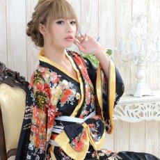 画像4: 帯付きななめカットフリル花魁着物ロングドレス コスチューム コスプレ キャバドレス (4)