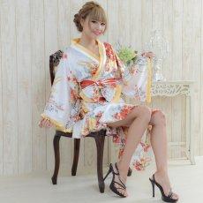 画像6: 帯付きななめカットフリル花魁着物ロングドレス コスチューム コスプレ キャバドレス (6)