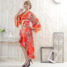 画像9: 花魁風帯付き総和柄サテン裾フリルロングドレス (9)