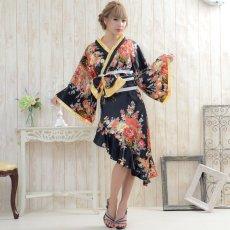 画像2: 帯付きななめカットフリル花魁着物ロングドレス コスチューム コスプレ キャバドレス (2)