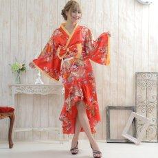 画像8: 花魁風帯付き総和柄サテン裾フリルロングドレス (8)