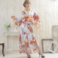 画像5: 花魁風帯付き総和柄サテン裾フリルロングドレス (5)
