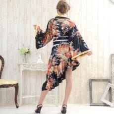 画像3: 帯付きななめカットフリル花魁着物ロングドレス コスチューム コスプレ キャバドレス (3)