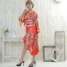 画像8: 帯付きななめカットフリル花魁着物ロングドレス コスチューム コスプレ キャバドレス (8)