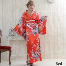 画像7: 孔雀サテン和柄ロング着物ドレス コスチューム コスプレ キャバドレス 花魁 (7)