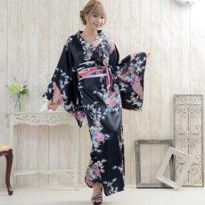 画像2: 孔雀サテン和柄ロング着物ドレス コスチューム コスプレ キャバドレス 花魁 (2)