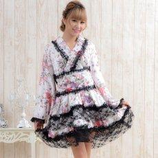 画像2: レースフリルリボン付きサテン花魁着物ドレス キャバドレス (2)