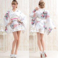 画像13: ゴールドパイピングフリルサテンミニ着物ドレス よさこい 花魁 キャバドレス (13)