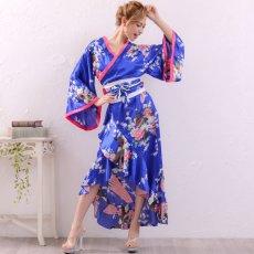 画像8: 【新色追加】孔雀和柄花魁着物ドレス 花魁 ロング キャバドレス コスチューム (8)