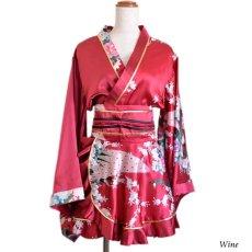画像18: 孔雀柄ミニ着物ドレス 和柄 よさこい 花魁 コスプレ キャバドレス (18)