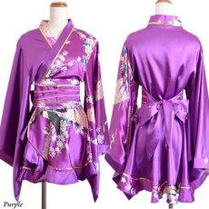 画像17: 孔雀柄ミニ着物ドレス 和柄 よさこい 花魁 コスプレ キャバドレス (17)