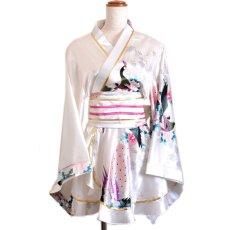 画像15: 孔雀柄ミニ着物ドレス 和柄 よさこい 花魁 コスプレ キャバドレス (15)