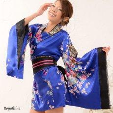 画像8: 和柄ミニ着物ドレス 和柄 衣装 ダンス よさこい 花魁 コスプレ キャバドレス (8)