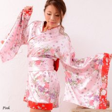 画像4: 和柄ミニ着物ドレス 和柄 衣装 ダンス よさこい 花魁 コスプレ キャバドレス (4)