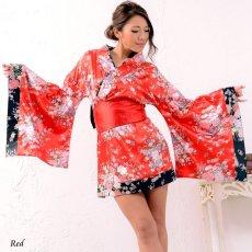 画像7: 和柄ミニ着物ドレス 和柄 衣装 ダンス よさこい 花魁 コスプレ キャバドレス (7)