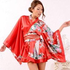 画像8: 孔雀柄ミニ着物ドレス 和柄 よさこい 花魁 コスプレ キャバドレス (8)