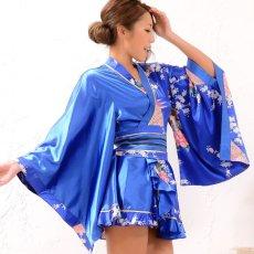 画像3: 孔雀柄ミニ着物ドレス 和柄 よさこい 花魁 コスプレ キャバドレス (3)