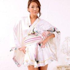 画像7: 孔雀柄ミニ着物ドレス 和柄 よさこい 花魁 コスプレ キャバドレス (7)