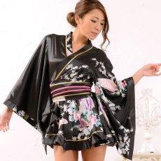 画像2: 孔雀柄ミニ着物ドレス 和柄 よさこい 花魁 コスプレ キャバドレス (2)