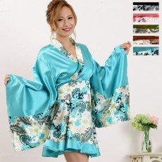 画像1: ペイズリー柄ミニ着物ドレス 和柄 衣装 ダンス よさこい 花魁 コスプレ キャバドレス (1)