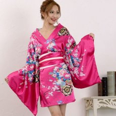 画像1: サテン和柄豪華花魁ミニ着物ドレス コスチューム キャバドレス (1)