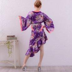 画像10: 帯付きななめカットフリル花魁着物ドレス コスチューム コスプレ キャバドレス (10)