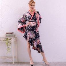 画像2: 帯付きななめカットフリル花魁着物ドレス コスチューム コスプレ キャバドレス (2)