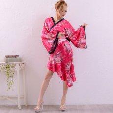 画像6: 帯付きななめカットフリル花魁着物ドレス コスチューム コスプレ キャバドレス (6)