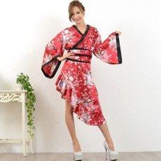 画像7: 帯付きななめカットフリル花魁着物ドレス コスチューム コスプレ キャバドレス (7)