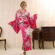 画像7: 帯付き花魁和柄サテン着物ロングドレス キャバドレス コスプレ (7)