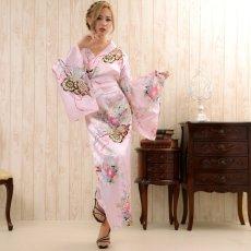 画像11: 帯付き花魁和柄サテン着物ロングドレス キャバドレス コスプレ (11)