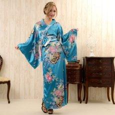 画像10: 帯付き花魁和柄サテン着物ロングドレス キャバドレス コスプレ (10)