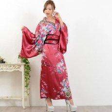 画像12: 帯付き花魁和柄サテン着物ロングドレス キャバドレス コスプレ (12)