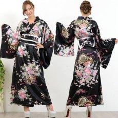 画像8: 帯付き花魁和柄サテン着物ロングドレス キャバドレス コスプレ (8)