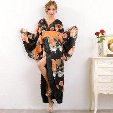 画像10: フラワーロング着物ドレス 和柄 よさこい 花魁 コスプレ キャバドレス (10)