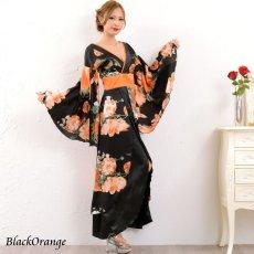 画像9: フラワーロング着物ドレス 和柄 よさこい 花魁 コスプレ キャバドレス (9)