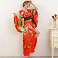 画像14: グラデーションロング着物ドレス 和柄 よさこい 花魁 コスプレ キャバドレス (14)