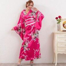 画像8: 孔雀サテン和柄ロング着物ドレス コスチューム コスプレ キャバドレス 花魁 (8)