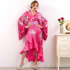 画像8: 帯付きゴールドパイピングフリル花魁着物ロングドレス コスチューム コスプレ キャバドレス (8)