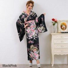 画像12: 【新色追加】レースフリルリボン付きサテン花魁着物ドレス コスチューム コスプレ キャバドレス (12)