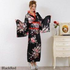 画像13: 【新色追加】レースフリルリボン付きサテン花魁着物ドレス コスチューム コスプレ キャバドレス (13)