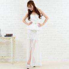 画像5: 【SALE40%OFF】セクシーシフォンスリット豪華ビジューロングドレス パーティードレス キャバドレス (5)