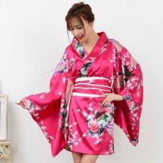 画像7: サテン和柄豪華花魁ミニ着物ドレス 和柄 よさこい 花魁 コスプレ キャバドレス (7)