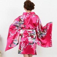 画像8: サテン和柄豪華花魁ミニ着物ドレス 和柄 よさこい 花魁 コスプレ キャバドレス (8)